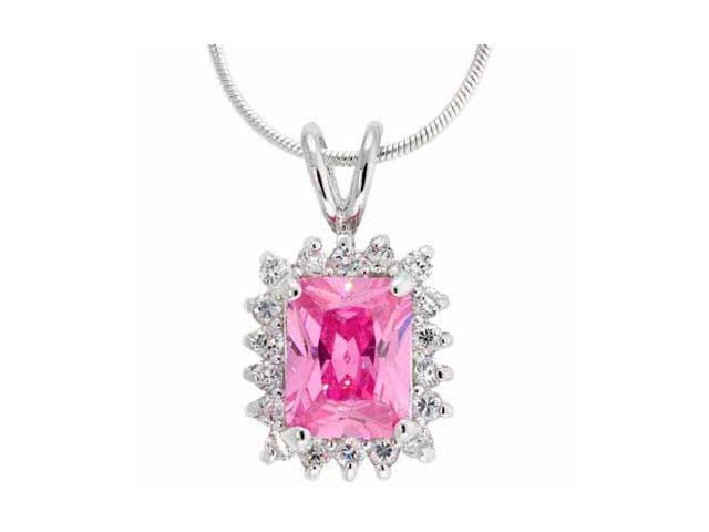 Sterling Silver Pink CZ and Simulated Diamond CZ Square Pendant