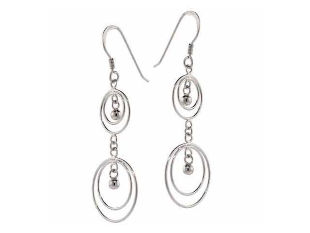 Sterling Silver Hoop Within A Hoop Bead Earrings