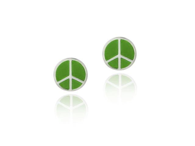 Sterling Silver Green Enamel Peace Sign Symbol Earrings