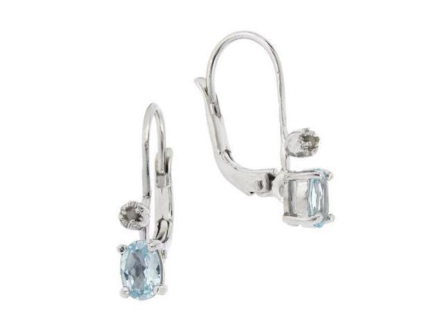 Sterling Silver Diamond Accent & Blue Topaz Leverback Earrings