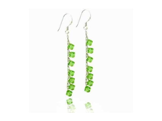 Celebrity Green Genuine Swarovski Crystal Dangling Silver Earrings