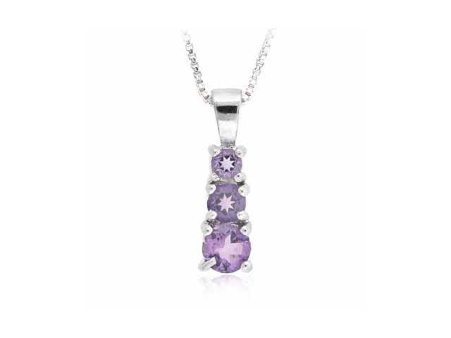 Sterling Silver Past Present and Future Genuine Amethyst Pendant