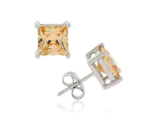 Sterling Silver Champagne cz Square Stud Earrings