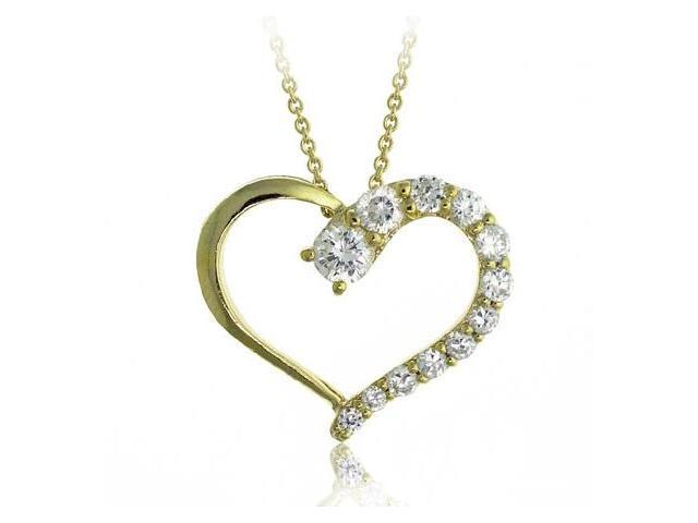 18K Gold/ Sterling Silver Open Heart CZ Journey Pendant