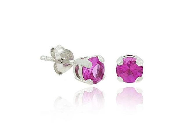 Sterling Silver .925 Dark Pink cz Stone Prong 5mm Round Stud Earrings