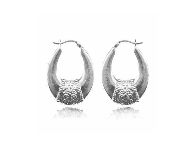 Stelring Silver Oval Bali Hoop Earrings