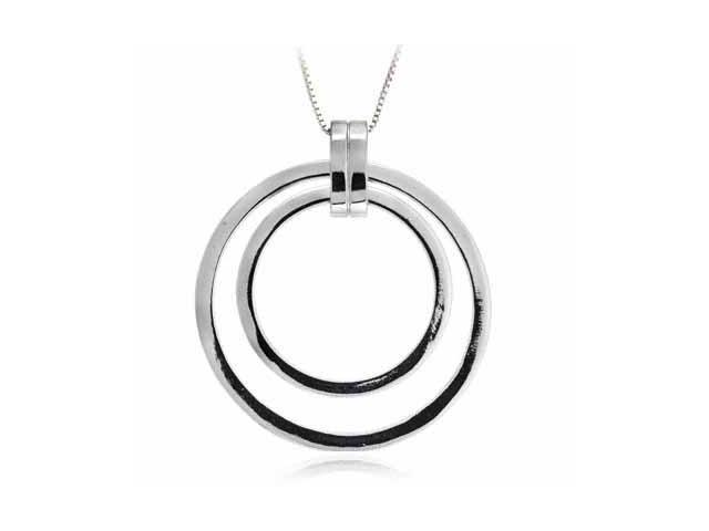 Sterling Silver Celebrity 'Circle within a Circle' Pendant
