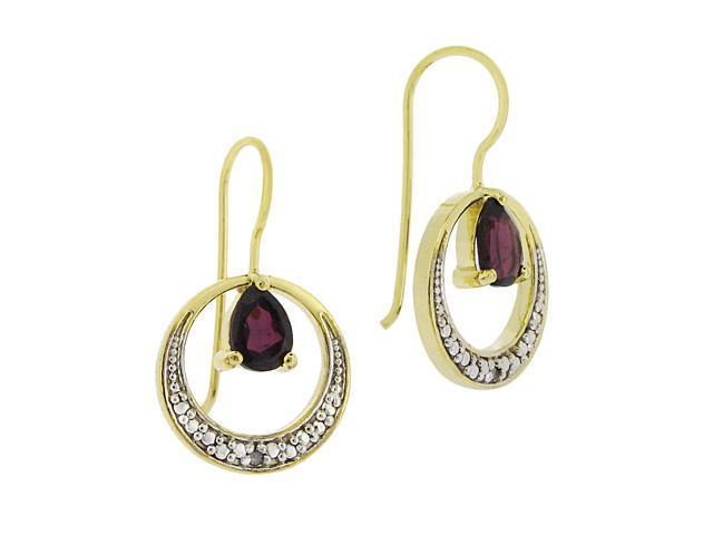 18K Gold over Silver Garnet & Diamond Accent Open Circle Earrings