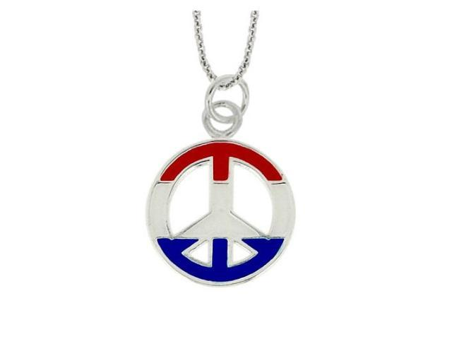 Sterling Silver USA Enamel Peace Sign Pendant