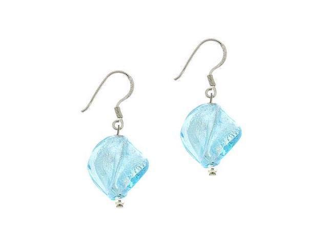 Sterling Silver .925 Sky Blue Glass Twisted Foil Bead Round Glitter Dangle Hook