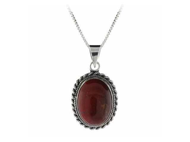 Genuine Chalcedite Stone Twisted Sterling Silver Border Oval Pendant