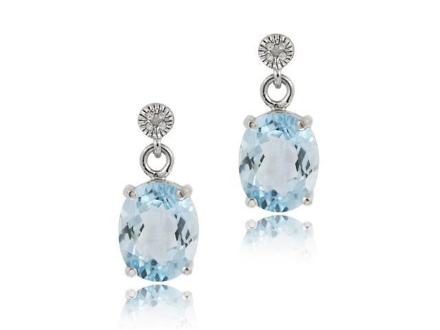 Sterling Silver 4.40 TCW Oval Blue Topaz and Diamond Earrings