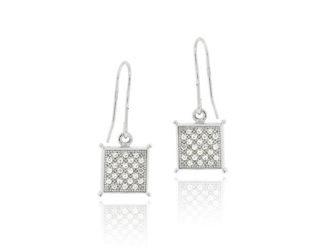 Sterling Silver CZ Micro Pave Square Dangle Earrings
