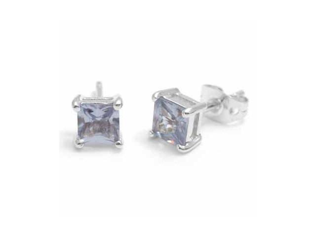 Sterling Silver Square Lavender Cubic Zirconia Stud Earrings