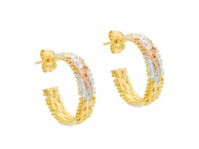 18K Gold over Sterling Silver Tri Color Gold Link Hoop Earrings