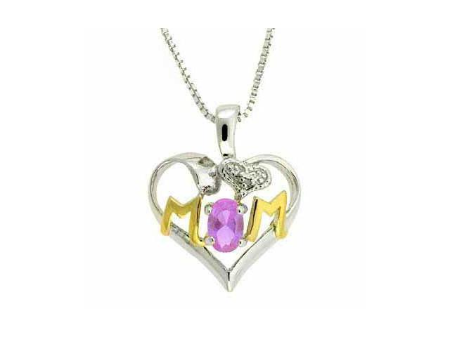 Sterling Silver Two-Tone Genuine Amethyst & Diamond Accent MOM Heart Pendant