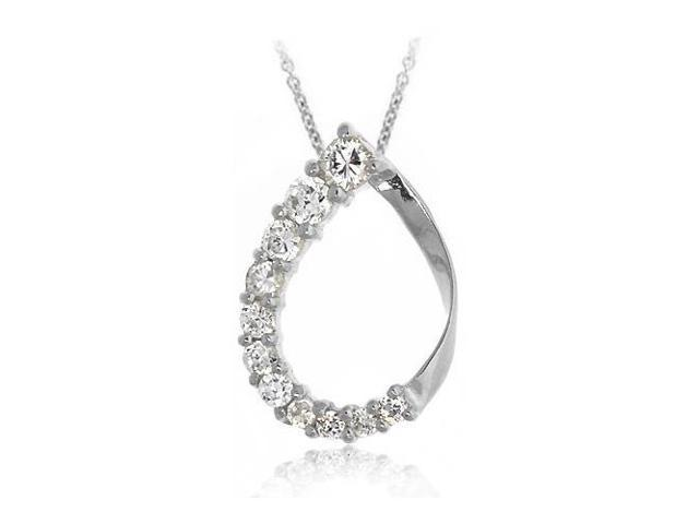 Sterling Silver CZ Teardrop Journey Pendant