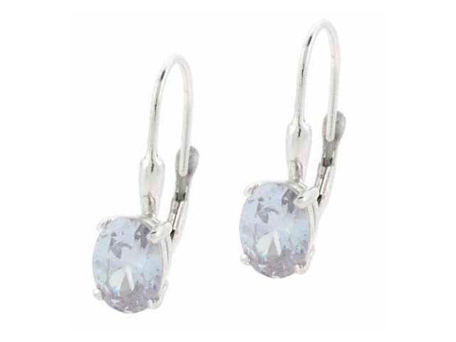 Large Lavender CZ Silver Oval Prong Set LeverBack Lever Back Earrings