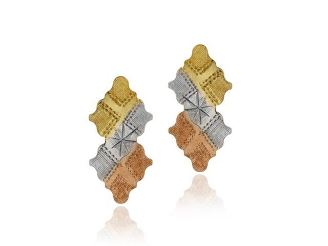 18K Gold over Sterling Silver Tri Color Argyle Drop Earrings