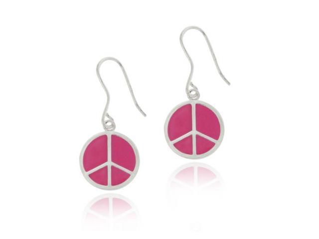 Sterling Silver Pink Enamel Peace Sign Dangle Earrings