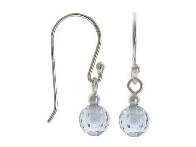 Sterling Silver .925 Briolette cut Lavender cubic zirconia disco ball dangle cz