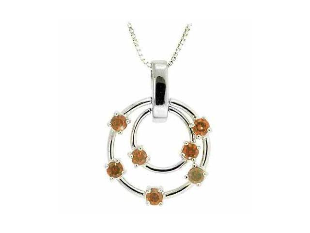 Sterling Silver Floating Orange Cubic Zirconia Double Circle Pendant