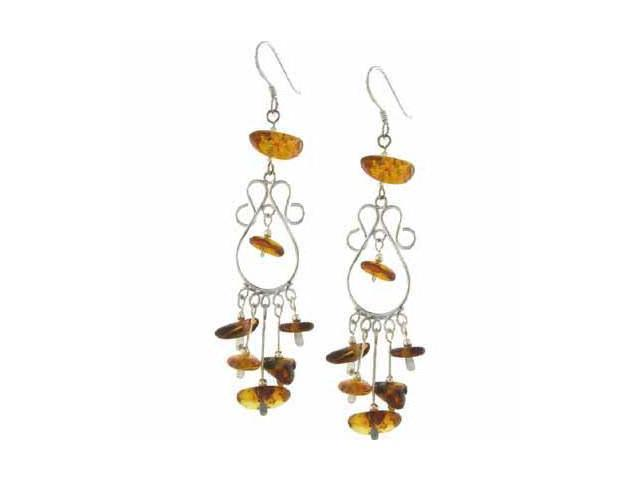 Genuine Amber Dangling Long Silver Chandelier Earrings