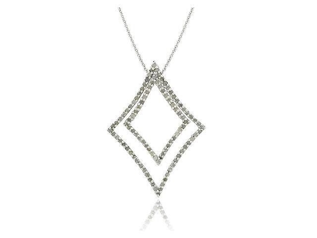 .925 Sterling Silver 1 CTW Genuine Diamond Double 2 Geometric 2 in 1 Pendant Nec