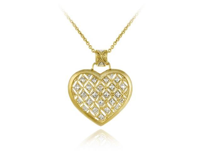 18K Gold over Sterling Silver Champagne Diamond Accent Quilted Heart Pendant