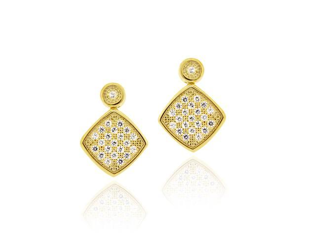 18K Gold over Sterling Silver CZ Micro Pave Diamond Shaped Drop Earrings