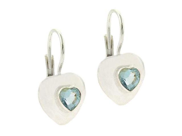 Bold Sterling Silver Genuine Blue Topaz stone Heart LeverBack Lever Back Earring