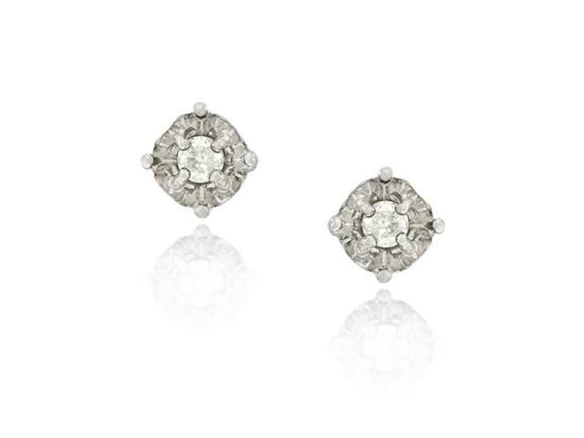 Sterling Silver 1/4 Ct. TDW Round Diamond Stud Earrings