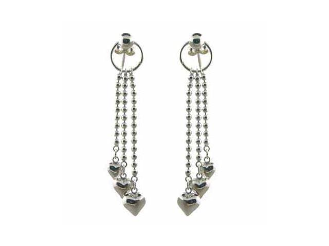 Sterling Silver Dangling Beaded Hoop Heart Chandelier Earrings