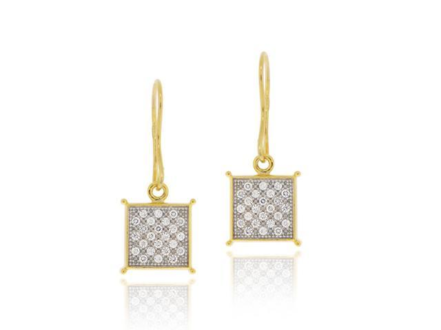 18K Gold over Sterling Silver CZ Micro Pave Square Two-Tone Dangle Earrings