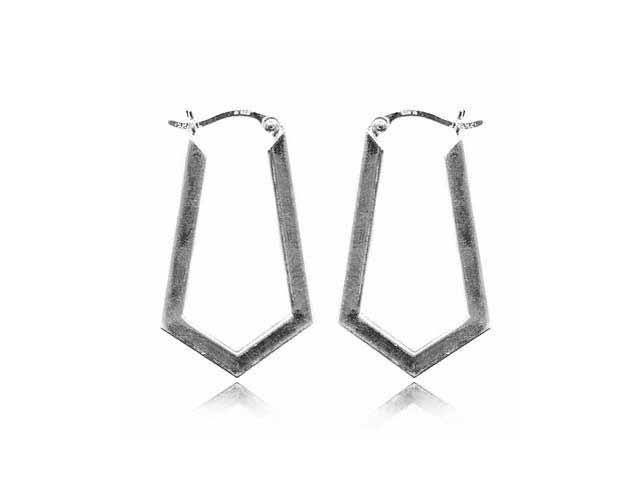 Geometric Sterling Silver Hoop Earrings