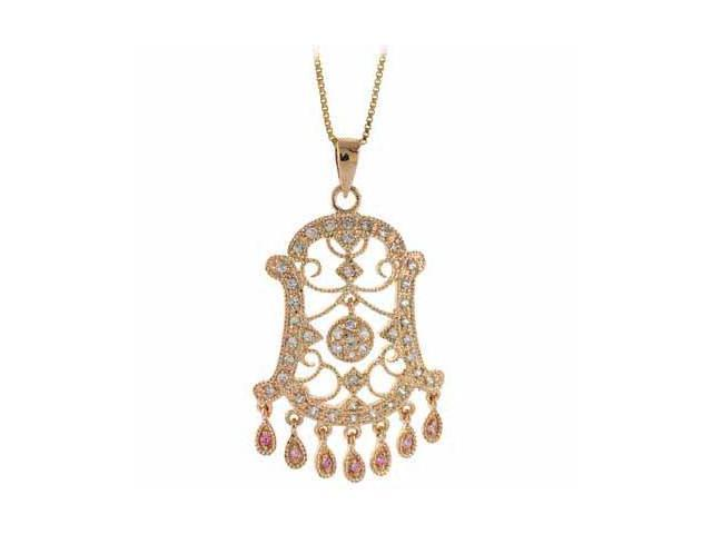 24kt Gold over Silver Diamond and Pink cubic zirconia Filigree Chandelier Pendan