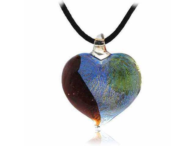 Murano Glass Silver Color Red Light Green Dark Blue Glitter Heart Silk Pendant N
