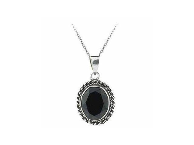 Sterling Silver Genuine Faceted Onyx Stone Oval Pendant