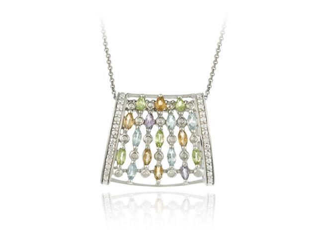 Sterling Silver Multi Color Gemstones Waterfall Design Pendant