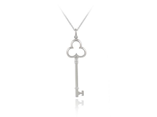 Sterling Silver Designer Inspired Clover Key Pendant