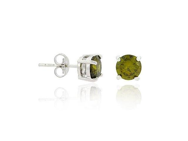 Sterling Silver .925 Prong Green cz 6mm Round Stud Earrings