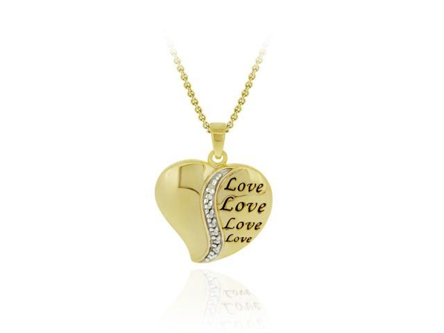 18K Gold over Sterling Diamond Accent Polished 'LOVE' Heart Pendant