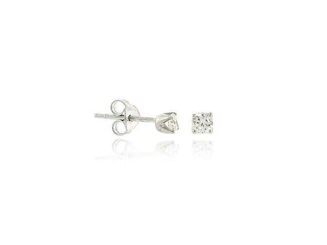 Sterling Silver .925 Simulated Diamond cz Stone 3mm Prong Round Small Stud Earri