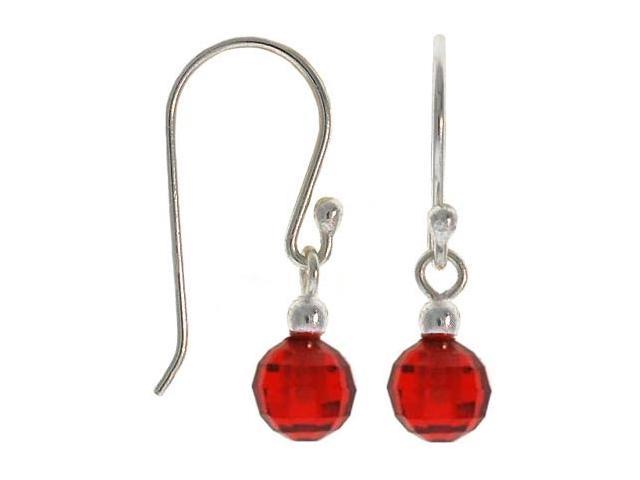 Sterling Silver .925 Briolette cut Red cubic zirconia disco ball dangle cz Earri
