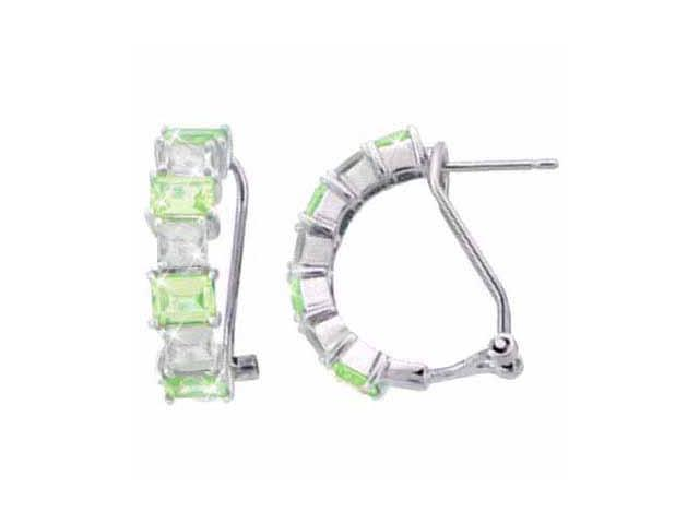 Sterling Silver Light Green CZ and Simulated Diamond CZ Half Hoop Earrings