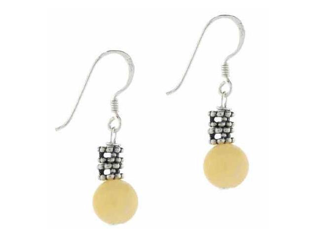 Silver Bali Aragonite Stone Dangling Earrings