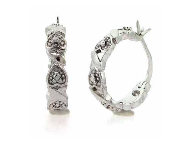 Sterling Silver Genuine Diamond Accent X and Heart Hoop Earrings