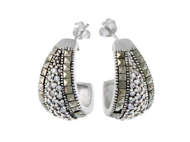 Sterling Silver Marcasite & CZ Half Hoop Earrings