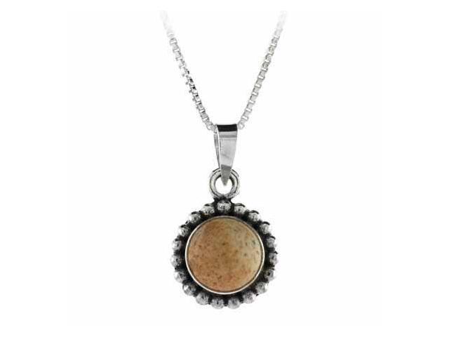 Sterling Silver Bali Beaded Genuine Picture Jasper Stone Circle Pendant