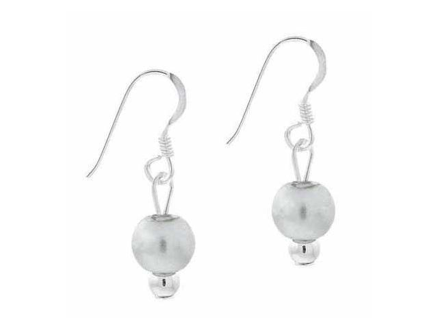 Sterling Silver 6mm Simulated Gray Pearl Stone Bead Beaded Dangle Hook Earrings